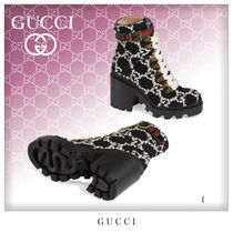 GUCCI Stripes Casual Style Tweed Block Heels Ankle & Booties Boots