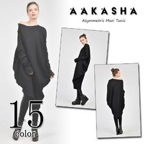 Aakasha Boat Neck Long Sleeves Plain Cotton Long Tunics