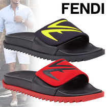 FENDI Unisex Street Style Bi-color Leather Shower Shoes