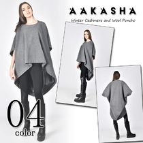 Aakasha Cashmere Plain Medium Ponchos & Capes