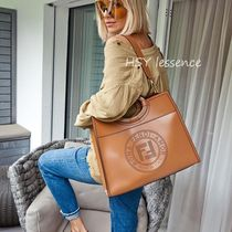 FENDI RUNAWAY Casual Style Street Style A4 Leather Bags
