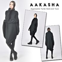 Aakasha Long Sleeves Plain Cotton Medium High-Neck Tunics