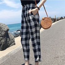 Gingham Casual Style Cotton Long Cropped & Capris Pants