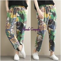 Camouflage Casual Style Cotton Medium Cropped & Capris Pants