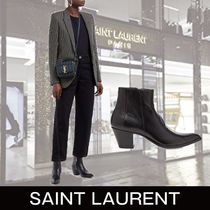 Saint Laurent Leather Block Heels Elegant Style Ankle & Booties Boots