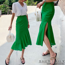 Flared Skirts Casual Style Medium Midi Skirts