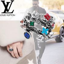Louis Vuitton MONOGRAM Flower Patterns Unisex Silver With Jewels Rings