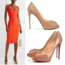 Christian Louboutin Plain Leather Pin Heels Elegant Style Stiletto Pumps & Mules