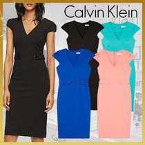 Calvin Klein Tight Puffed Sleeves V-Neck Plain Medium Elegant Style