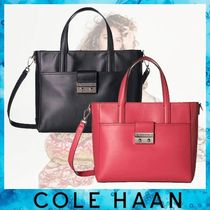 Cole Haan A4 2WAY Plain Leather Elegant Style Totes