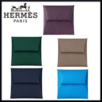HERMES Bastia Unisex Calfskin Plain Folding Wallets