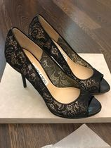 Jimmy Choo Flower Patterns Open Toe Pin Heels Party Style Elegant Style