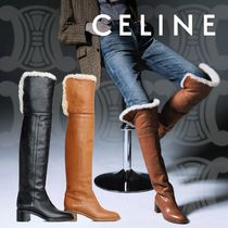 CELINE Plain Toe Casual Style Plain Leather Over-the-Knee Boots