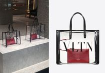 VALENTINO VLTN A4 Crystal Clear Bags PVC Clothing Logo Totes