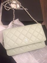 CHANEL CHAIN WALLET Casual Style 2WAY 3WAY Plain Leather Party Style