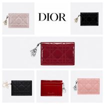 Christian Dior LADY DIOR Calfskin Plain Card Holders