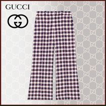 GUCCI Other Check Patterns Casual Style Tweed Blended Fabrics