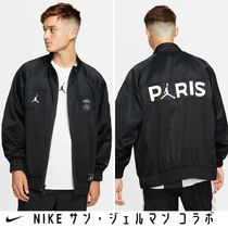 Nike AIR JORDAN Short Nylon Street Style Collaboration Plain Varsity Jackets