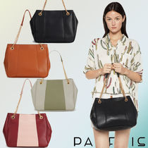 PARFOIS Casual Style Faux Fur Bi-color Chain Plain Shoulder Bags