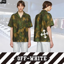 Off-White Camouflage Cotton Short Sleeves Handmade Shirts
