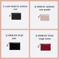 Christian Dior LADY DIOR Calfskin Plain Logo Card Holders