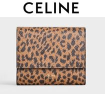 CELINE Leopard Patterns Calfskin Plain Handmade Folding Wallets