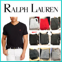 POLO RALPH LAUREN Street Style V-Neck Plain Cotton Short Sleeves