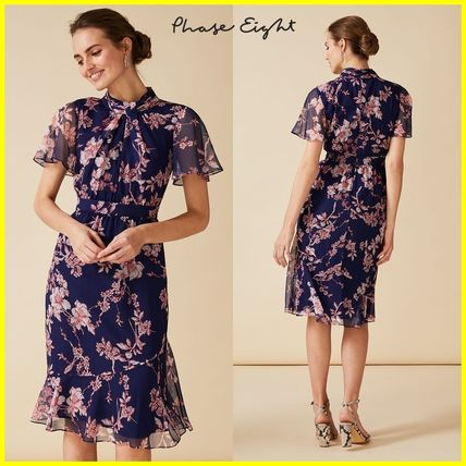 Flower Patterns Medium Short Sleeves Elegant Style Dresses