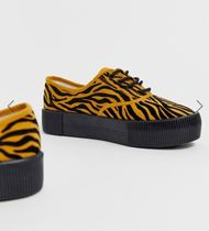 MONKI Platform Round Toe Lace-up Casual Style Faux Fur