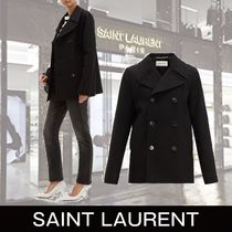 Saint Laurent Casual Style Wool Plain Medium Peacoats