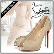 Christian Louboutin Open Toe Platform Blended Fabrics Plain Leather Party Style