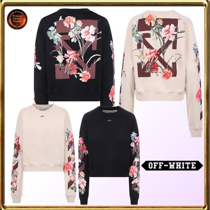 Crew Neck Flower Patterns Long Sleeves Cotton