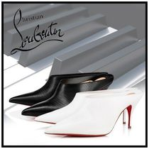 Christian Louboutin Plain Other Animal Patterns Leather Pin Heels Elegant Style