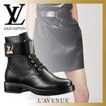 Louis Vuitton Plain Toe Rubber Sole Casual Style Blended Fabrics Leather