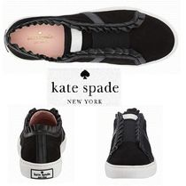 kate spade new york Round Toe Plain Leather Low-Top Sneakers
