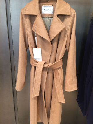 Stand Collar Coats Wool Plain Medium Party Style