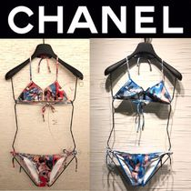 CHANEL SPORTS Tropical Patterns Street Style Halter With Jewels Beachwear