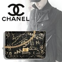 CHANEL CHAIN WALLET Unisex Street Style 2WAY Chain Other Animal Patterns Leather