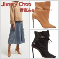 Jimmy Choo Plain Leather Pin Heels Elegant Style High Heel Boots