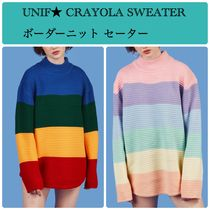 UNIF Clothing Cable Knit Stripes Casual Style Street Style Long