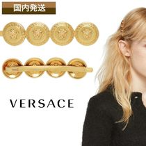 VERSACE Barettes Casual Style Brass With Jewels Clips