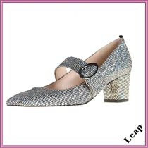SJP by Sarah Jessica Parker Plain Toe Casual Style Blended Fabrics Leather Block Heels