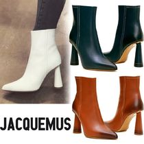 JACQUEMUS Plain Leather Ankle & Booties Boots
