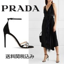 PRADA Open Toe Suede Blended Fabrics Plain Pin Heels With Jewels