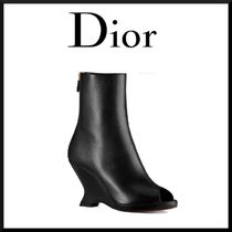 Christian Dior Open Toe Plain Leather Elegant Style Wedge Boots