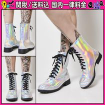 DOLLS KILL Round Toe Lace-up Casual Style Plain Lace-up Boots