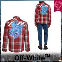 Off-White Skull Other Check Patterns Linen Street Style Long Sleeves