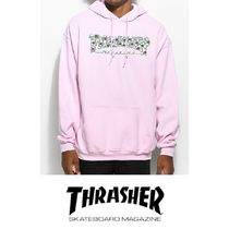 THRASHER Pullovers Street Style Long Sleeves Plain Cotton Hoodies