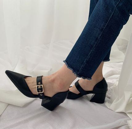 Pointed Toe Faux Fur Plain Party Style Chunky Heels 10