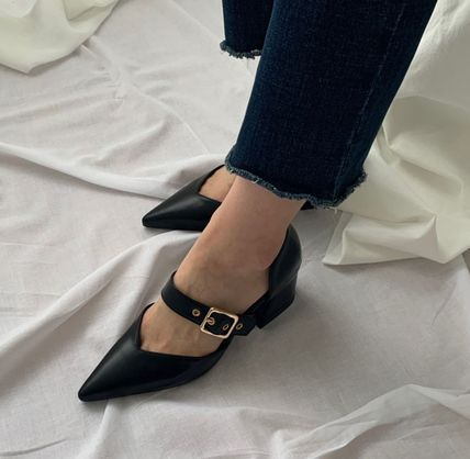 Pointed Toe Faux Fur Plain Party Style Chunky Heels 11